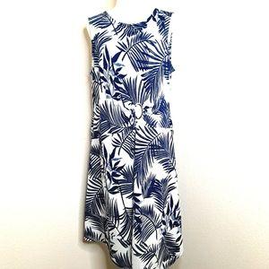 Dana Buchman NWT Dress Asymmetrical Tank Blue Whit